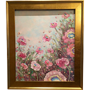 """French Wild Pink Poppies"", Original Oil Painting by artist Sarah Kadlic."