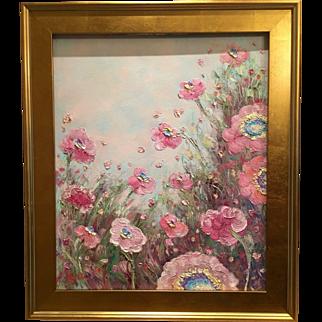 """French Wild Pink Poppies"", Original Oil Painting by artist Sarah Kadlic."