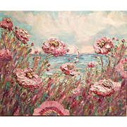 """French Wild Pink Poppies"", Original Oil Painting by artist Sarah Kadlic, 24x20"""