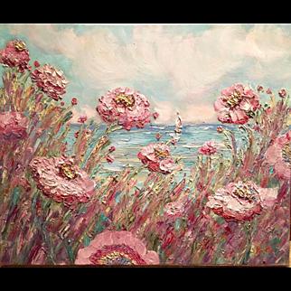 """French Wild Pink Poppies"", Original Oil Painting by artist Sarah Kadlic, 24x20"""