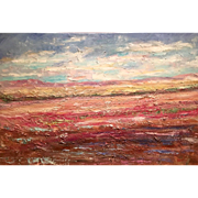 """Abstract Late Summer Landscape"", Original Oil Painting by artist Sarah Kadlic, 36x24"""