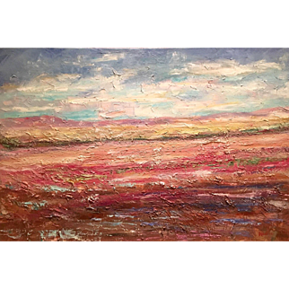 """""""Abstract Late Summer Landscape"""", Original Oil Painting by artist Sarah Kadlic, 36x24"""""""