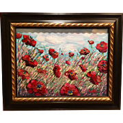 """Abstract Wild Poppies"", Original Oil Painting by artist Sarah Kadlic, 12x16"" Wood Gilt Frame"