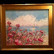 """Abstract Seascape Sailboats, Poppies & Sunset"", Original Oil Painting by artist Sarah Kadlic 24x20 + Gilt Frame"
