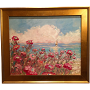 """Abstract Seascape Sailboats, Poppies & Sunset"", Original Oil Painting by artist Sarah Kadlic 24x20 + Gilt Frame"