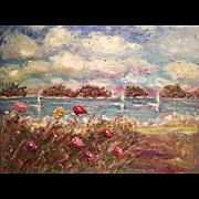"""""""Abstract Seascape Beach & Wildflowers Impasto"""", Original Oil Painting 40""""x30"""" by artist Sarah Kadlic."""