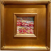 """""""Abstract Impasto Fields"""", Original Oil Painting by artist Sarah Kadlic, with Giltwood Frame 10.5"""""""
