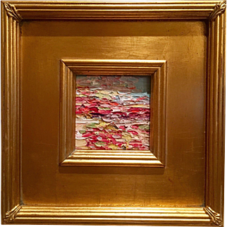 """Abstract Impasto Fields"", Original Oil Painting by artist Sarah Kadlic, with Giltwood Frame 10.5"""