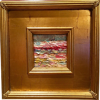 """Abstract Impasto Landscape"", Original Oil Painting by artist Sarah Kadlic, Gilt Framed 10.5"""