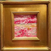 """Abstract Pink Landscape Impasto"", Original Oil Painting by artist Sarah Kadlic, 10.5"" Gilt Leaf Wood Frame"