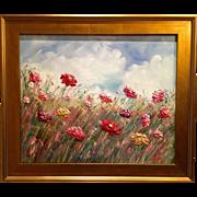 """French Wild Flowers Landscape"", Original Oil Painting by artist Sarah Kadlic, 24""x20"" Plein Air Gilt Frame"