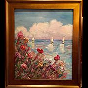 """Abstract Textured Seascape"", Original Oil Painting by artist Sarah Kadlic, 24x20"" Gilt Frame"