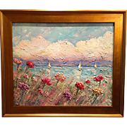 """Abstract Seascape with Wildflowers"", Original Oil Painting by artist Sarah Kadlic, 24x20"" + Gilt Wood Frame"