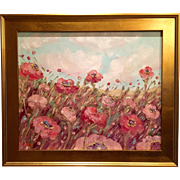 """""""Abstract French Wild Poppies"""", Original Oil Painting by artist Sarah Kadlic, Gilt Leaf Wood Frame"""