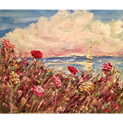 """French Wildflowers Seascape"", Original Oil Painting by artist Sarah Kadlic, 24""x20"""