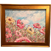 """Abstract Wild Poppies"", Original Expressionist Oil Painting by artist Sarah Kadlic, 20x24"" + Gilt Leaf Frame"
