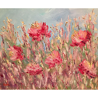 """Wild Poppies Abstract"", Original Oil Painting by artist Sarah Kadlic, 24x20"" Gallery Wrapped Style Canvas"