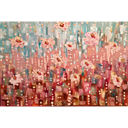 """Abstract Blossoms In The Wind"", Original Oil Painting by artist Sarah Kadlic, 36"" by 24"""