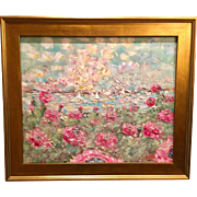 """""""Abstract Floral Seascape"""", Original Oil Painting by artist Sarah Kadlic, 24x20"""" with Gilt Leaf Frame"""