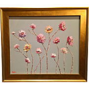 """Abstract Wild Flowers on Pale Gray"", Original Oil Painting by artist Sarah Kadlic, 24x20"" + Gold Gilt Frame"