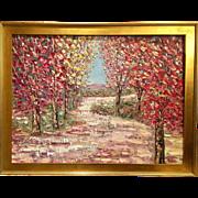 """Abstract Autumn Trees Fall Landscape Impasto"", Original Oil Painting by artist Sarah Kadlic, 40x30"""