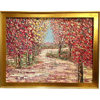 """Abstract Autumn Trees Fall Landscape Impasto"", Original Oil Painting by artist Sarah Kadlic, 40x30"""