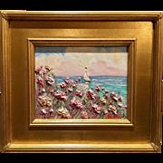 """Abstract Pink Wildflowers Seascape"", Original 8x10 Oil Painting by artist Sarah Kadlic, Gilt Framed"