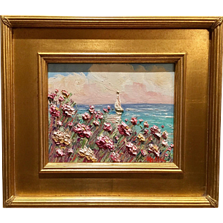 """Abstract Pink Wildflowers Seascape"", Original 8x10 Oil Painting by artist Sarah Kadlic, Gilt Framed"