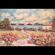 """French Sailboats & Pink Poppies"", Original Oil Painting by artist Sarah Kadlic, 36""x24"""