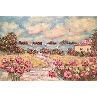 """French Sailboats & Pink Poppies"", Original Oil Painting by artist Sarah Kadlic, 36""x24"""