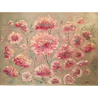 "Large 30X40"" Abstract Modern Pink Floral KADLIC Original Oil Painting Art"