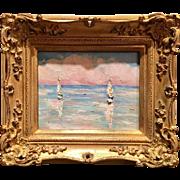 """Sailboats Seascape Sunset Abstract"", Original Oil Painting by artist Sarah Kadlic, Gilt Wood Carved Frame"