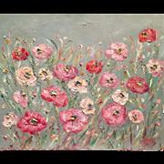 """Abstract Wild Poppies"", Original Oil Painting by artist Sarah Kadlic, 24x20"""