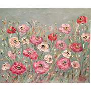 """Abstract Wild Poppies"", Original Oil Painting by artist Sarah Kadlic, 24x20"""