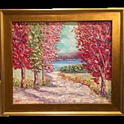 """Abstract Trees Seascape Landscape"", Original Oil Painting by artist Sarah Kadlic, 24x20"""