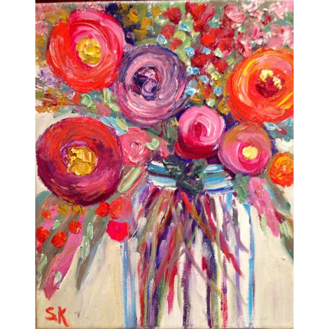Small 8x10 Colored Poppies In Blue Mason Jar Original Oil On Canvas Courtland Jewels