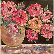 """French Pot of Flowers"", Original Oil Painting by artist Sarah Kadlic, 12""x12"" Canvas"