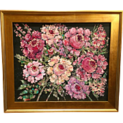"""Floral Tapestry"", Original Oil Painting by artist Sarah Kadlic, 24x20"" with Gilt Leaf Frame"