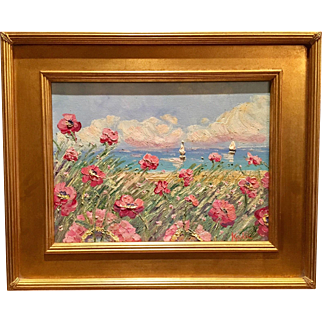 """French Riviera Pink Poppies Seascape"", Original Oil Painting by artist Sarah Kadlic, 12x16"" + Gilt Frame"
