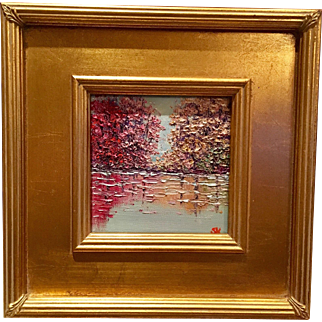"""Abstract Trees on the Water Landscape"", Original Oil Painting by artist Sarah Kadlic, Gilt Leaf Frame 12x12"