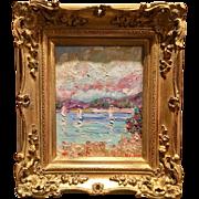 """Sailboats Seascape Abstract"", Original Oil Painting by artist Sarah Kadlic, 8x10"" + Gilt French Frame"