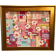 """Abstract Retro Modern Color Blocking with Blossoms"", Original Oil Painting by artist Sarah Kadlic, 20x24"" Gilt Framed"