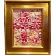 """Abstract Impasto Pinks & Gold Color"", Original Oil Painting by artist Sarah Kadlic, 15x17"" Giltwood Framed"