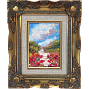 "French Poppies Landscape Original Oil Painting by Artist Sarah Kadlic, 5x7"" Gilt Wood Frame"