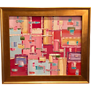 """Abstract Retro Modern Colored Spaces"", Original Oil Painting by artist Sarah Kadlic, 24x20 Gilt Framed"
