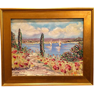 """Abstract Tuscany Poppies Impressions"", Original Oil Painting by artist Sarah Kadlic, 16x20"" Gilt Leaf Frame"