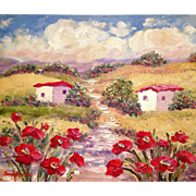 French Country Provence Red Poppies Original Oil Painting by Artist Sarah Kadlic 24x20