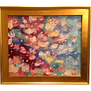 """Abstract Impasto of Color"", Original Oil Painting by artist Sarah Kadlic, 24x20"" Framed Gilt Wood Frame"