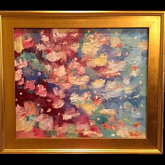 """Abstract Impasto of Color"", Original Oil Painting by artist Sarah Kadlic, 24x20"" Framed Gilt Wood Frame"