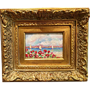 French Riviera Sailboats & Poppies Original Oil Painting by Artist Sarah Kadlic Chunky Gilt Frame